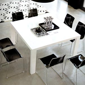 Table carr e laqu e blanche en 1m40 - Table blanche carree avec rallonges ...