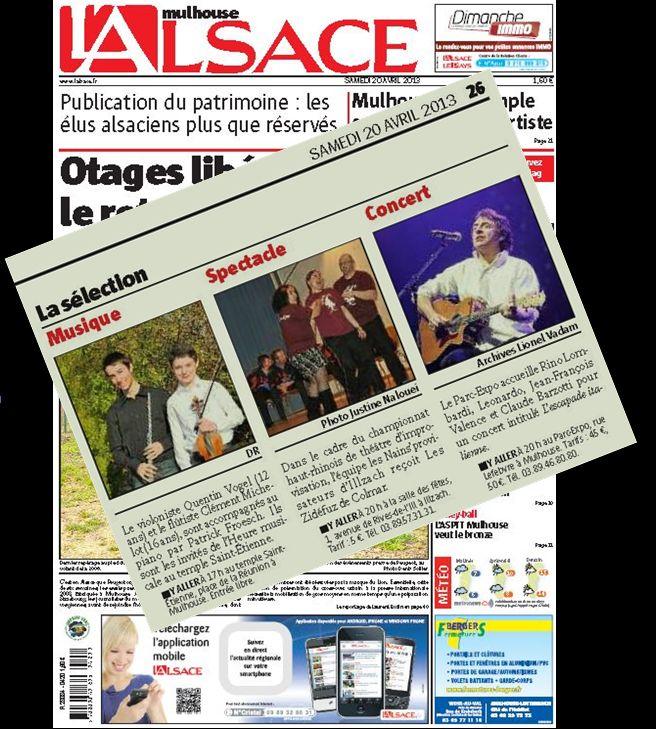 L'alsace édition Mulhouse du 20 avril 2013