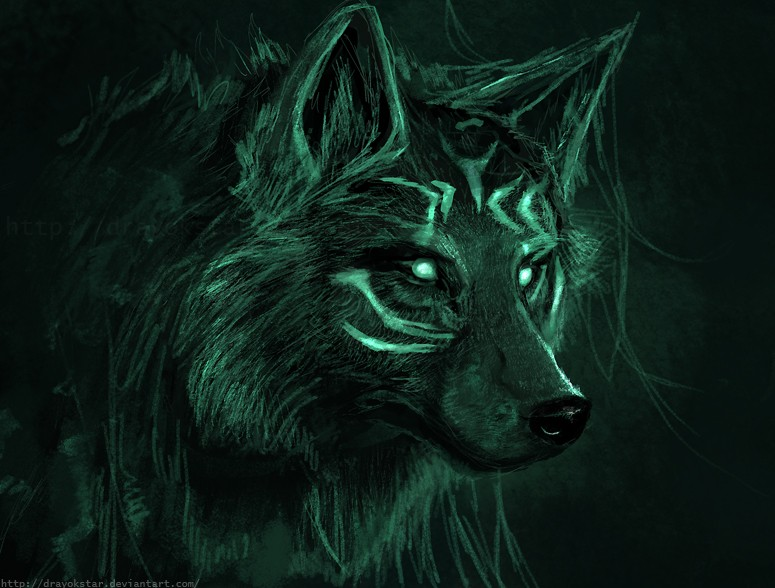 black wolf with green eyes - photo #7