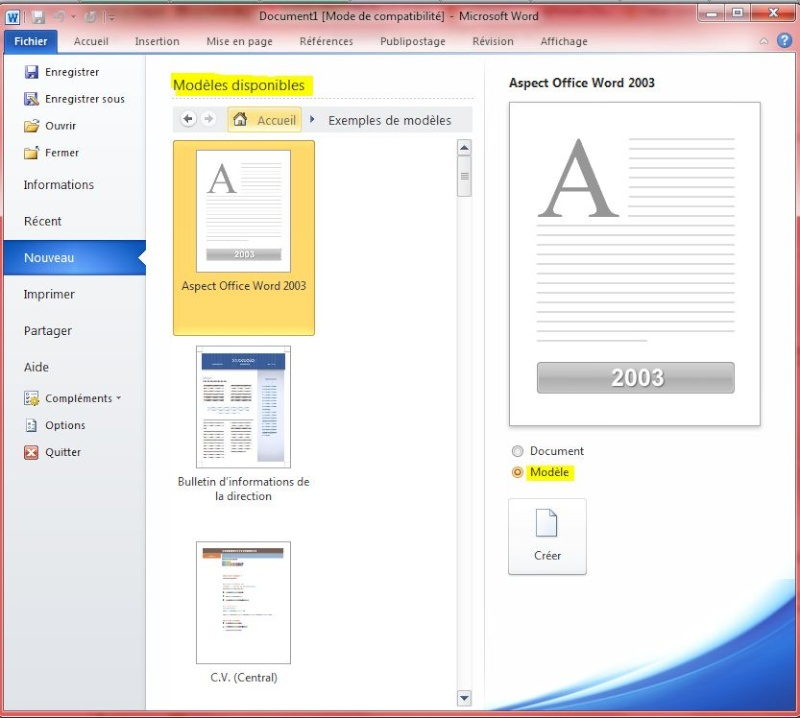 r u00e9pertoire enregistrement de mod u00e8les word