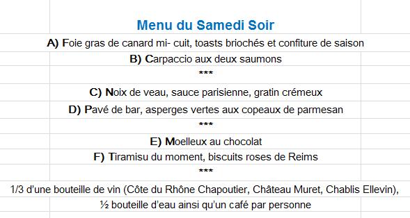 Troyes entre champagne et chablis 29 et 30 juin page 10 for Menu samedi soir entre amis